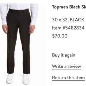 Topman Skinny Fit Dress Pants Black Sz 30/32